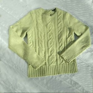 Cashmere Wool Angora Sweater Cable Knit Lt Green S